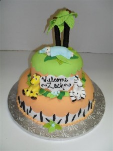 Fondant Jungle Baby Shower Cake
